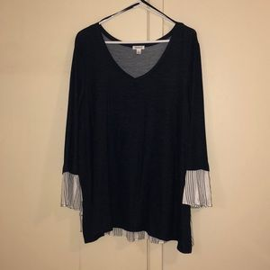Blue Dress Shirt w/ striped sleeve & back details